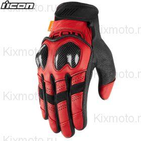 Мотоперчатки кожаные Icon Contra2 , Черно-красные