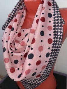 Розовый шерстяной платок в горошек, арт. 020