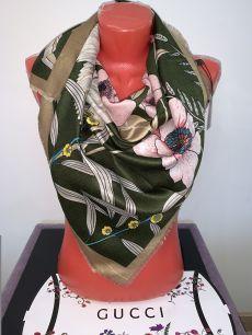 Платок Gucci шерстяной, зеленый с цветами, арт. 018