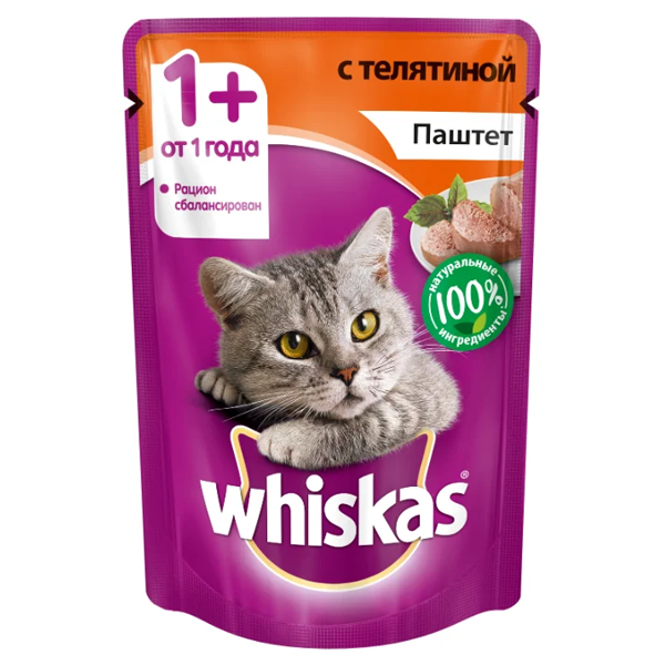 Корм для кошек беззерновой с телятиной паштет 85 гр