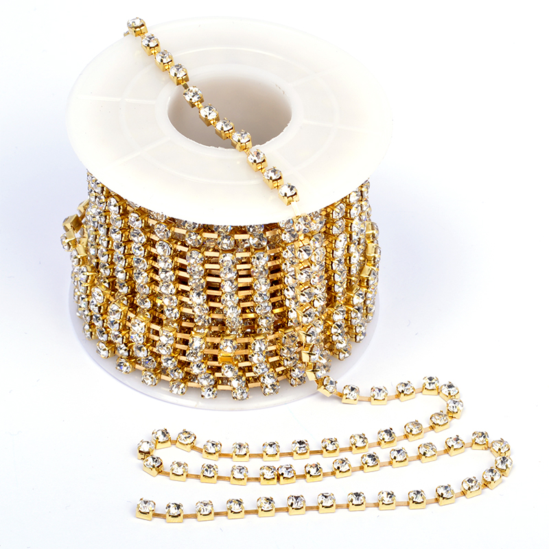 Цепь из страз 2 мм золото (SS6 Gold)