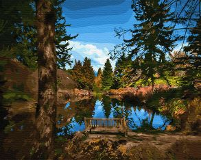 Картина по номерам «Лавочка у озера» 40x50 см