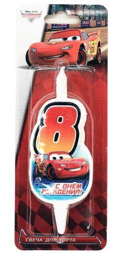 Свеча для торта «Цифра 8» Disney «Тачки»