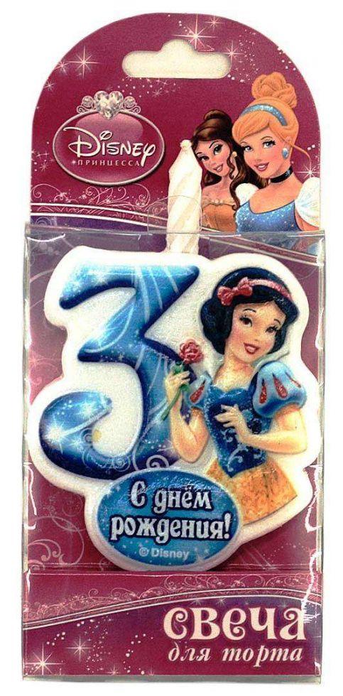 Свеча для торта цифра 3 «Принцесса»