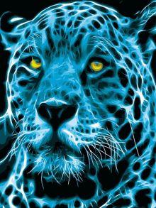 Картина по номерам «Неоновый ягуар» 40x50 см