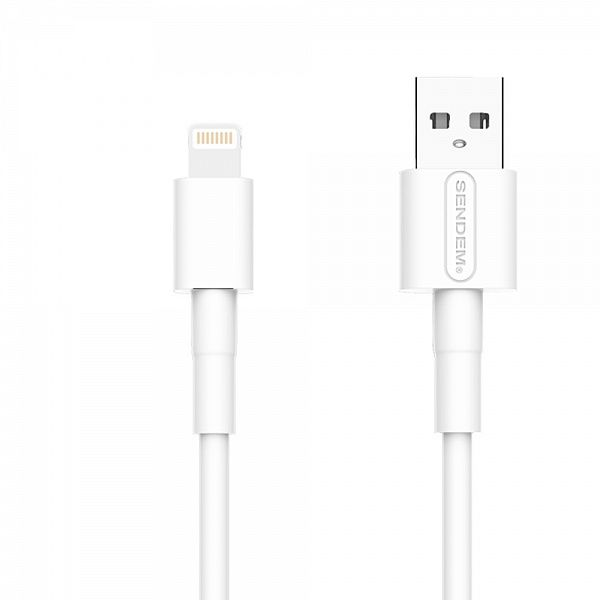 Кабель USB 5А SENDEM M66 Белый (iOS Lighting) 1м