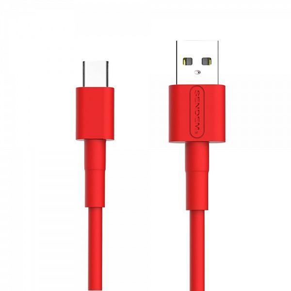 Кабель USB 5А SENDEM M66 Красный (TYPE C) 1м