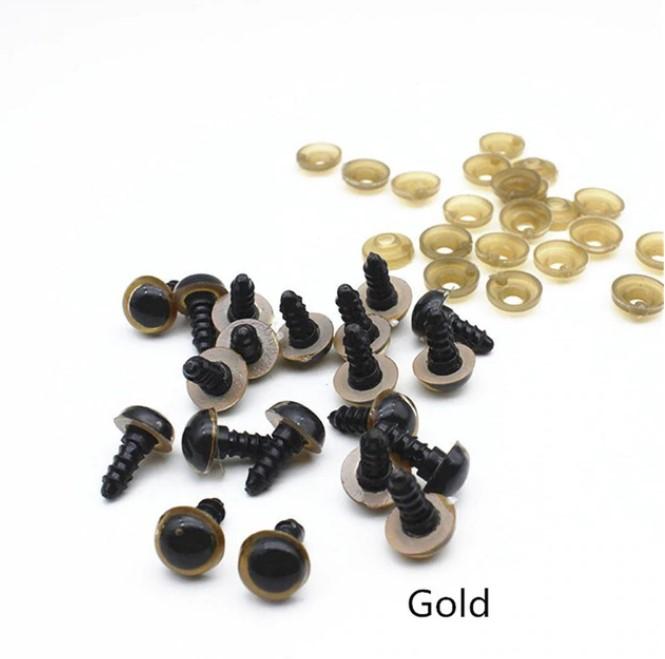 Глазки винтовые круглые полупрозрачные 10мм с заглушками золото
