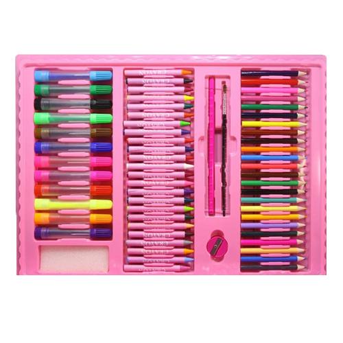 Набор для рисования со складным мольбертом в чемоданчике, 176 предметов. Цвет: розовый.
