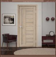 Межкомнатная дверь LINEA 3  Дуб Шале Песок, стекло - Мателюкс :