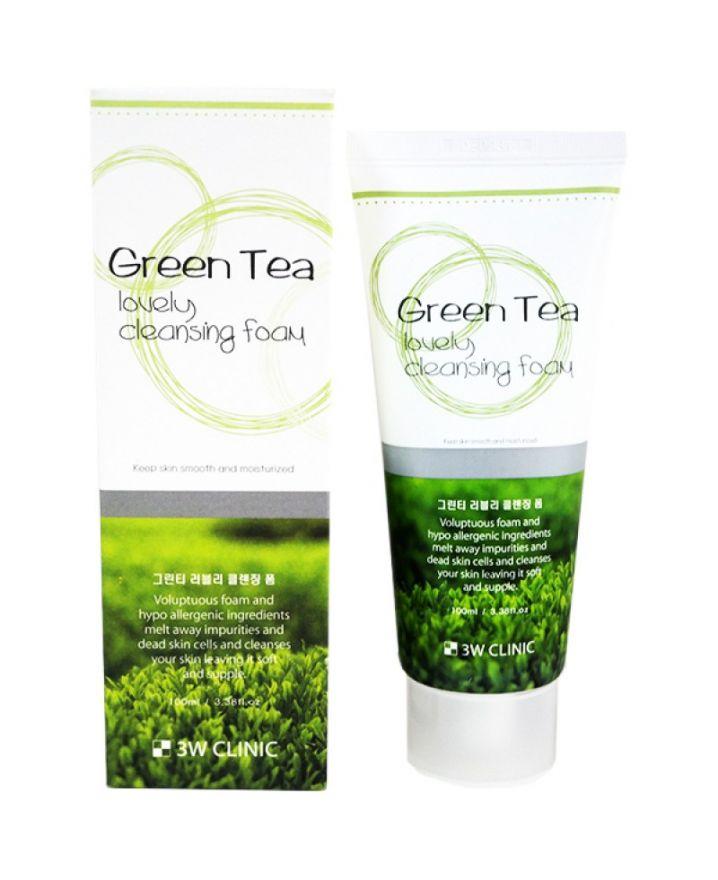 """3W Clinic Green Tea Lovely Cleansing Foam очищающая пенка """"Зеленый чай"""""""