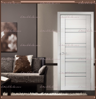 Межкомнатная дверь LINEA 8  Дуб Белый поперечный, стекло - Мателюкс :