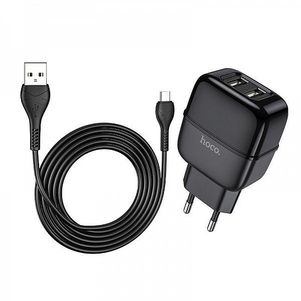 Зарядное устройство с USB HOCO C77A Черный Micro USB (2400mA,5V)