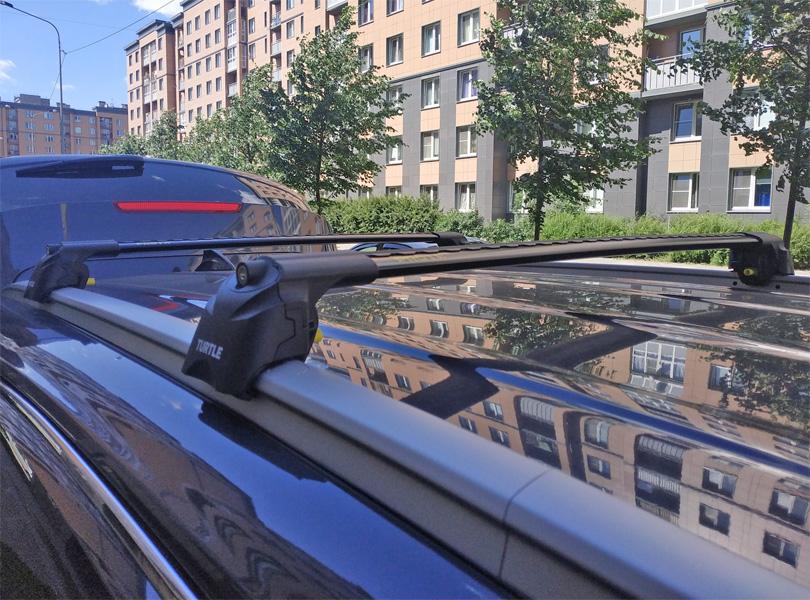 Багажник на крышу Kia Sorento Prime 2016-..., Turtle Air 2, аэродинамические дуги на интегрированные рейлинги (черный цвет)