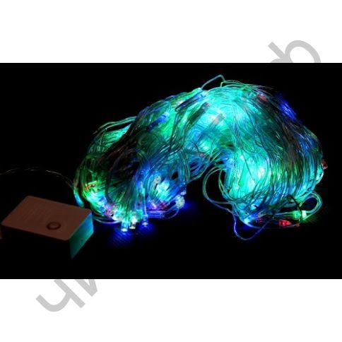 Гирлянда прозрач. кабель (светодиод) сетка цветная 160 ламп LED-8020