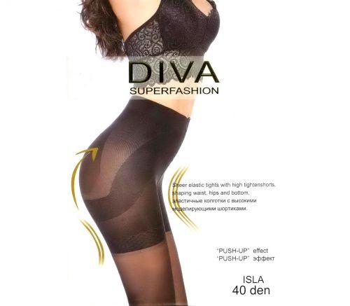 """Женские колготки Diva с эффектом """"push-up"""" Isla Black 40 Den DIV316B"""