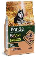Monge Dog BWild GRAIN FREE беззерновой корм из лосося и гороха для взрослых собак всех пород (2,5 кг)