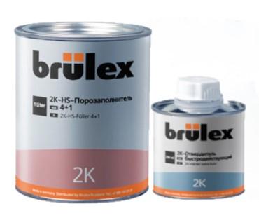 Brulex Светло-серый 2K-HS-Порозаполнитель 4+1 + 2К отвердитель быстродействующий.