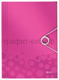 Папка А4 на резинках Esselte Leitz WOW розовый 45990023