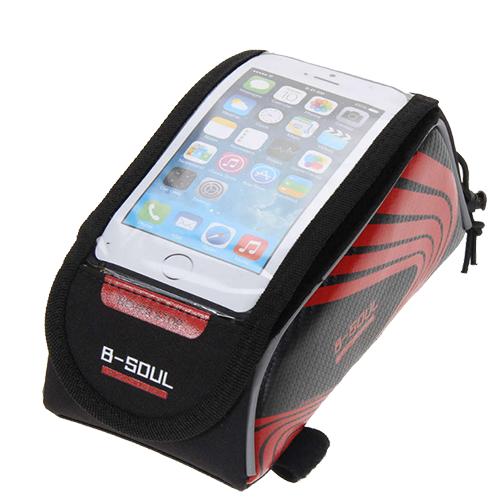 Велосипедная сумка на раму под смартфон B-Soul, 21х9,5х9,5 см. Цвет: красный.