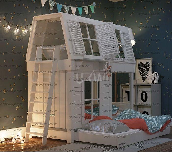Кровать двухъярусная Домик с крышей Village