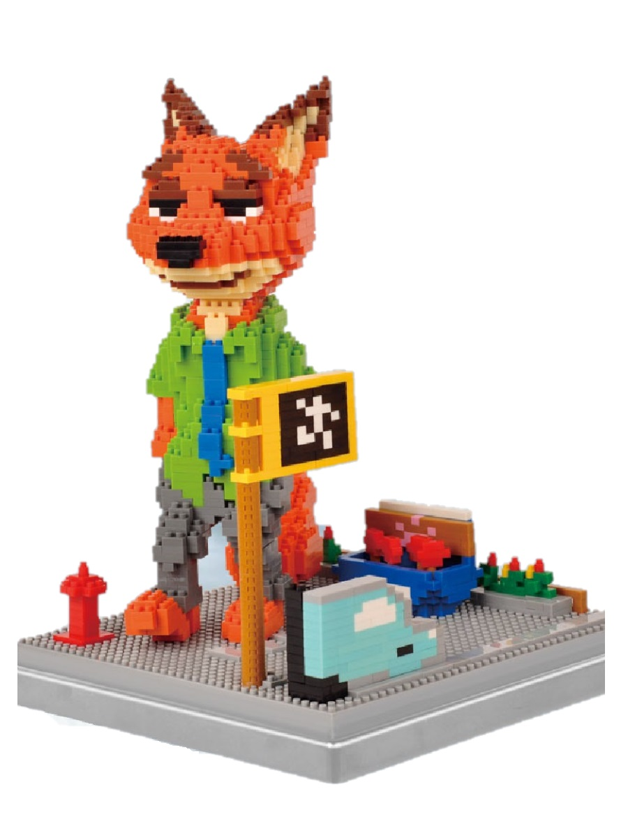Конструктор Wisehawk & LNO лис Ник Уайлд Зверополис 1382 деталей NO. 162 Zootopia fox Gift Series