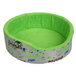 Лежанка для собак и кошек круглая Хвостел светло-зеленый Флис