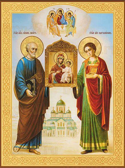 Икона Симон Зилот и Пантелеимон