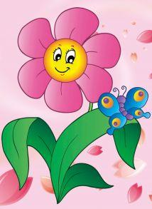 Алмазная мозаика «Цветочек с бабочкой» 17х22 см