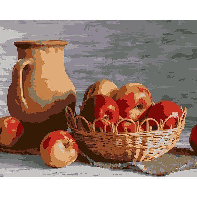Роспись по холсту Яблоки в корзине 40*50 см HS0296