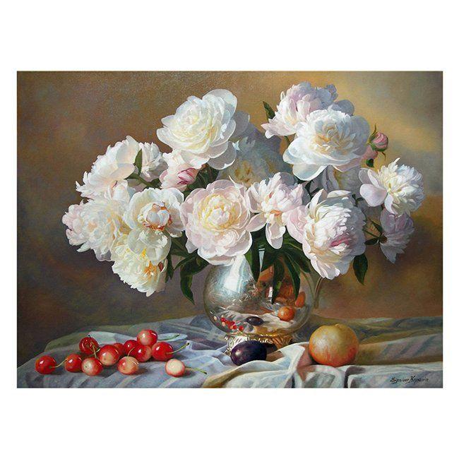 Картина по номерам Натюрморт с белыми пионами 30*40см KK0040
