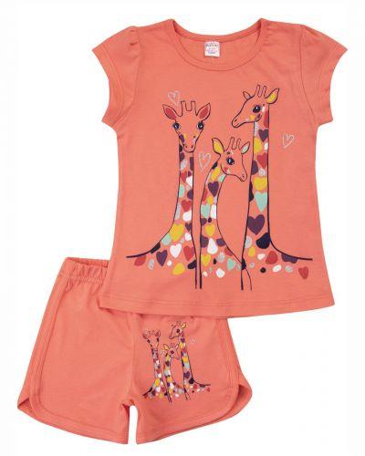 """Костюм для девочек 4-8 лет Bonito kids """"Жирафики"""" коралловый"""