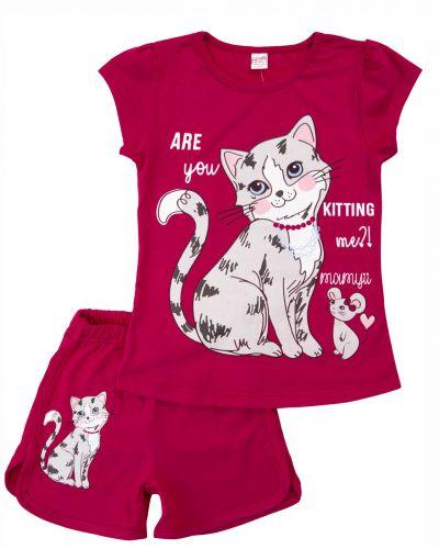 """Костюм для девочек 4-8 лет Bonito """"A cat with a mouse"""" темно-малиновый"""