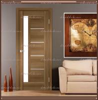 Межкомнатная дверь PREMIER 3  Орех Золотой, стекло - ЛАКОБЕЛЬ Белое :