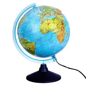 Интерактивный глобус физико-политический рельефный, диаметр 320 мм, с подсветкой