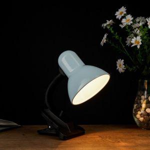 Лампа настольная Е27, светорегулятор, на зажиме (220В) белая 26х13х11   3723905