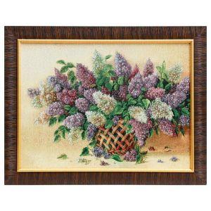 """Картина из гобелена """"Сирень в плетеной вазе"""", 35х45 см"""