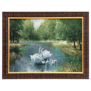 "Картина из гобелена ""Лебединое семейство в пруду"", 35х45 см"