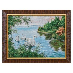 "W066-30х40 Картина из гобелена ""Лебединое семейство в пруду"" (35х45) 4889415"