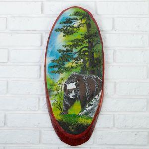 """Панно на спиле """"Лето.Медведь"""", 52-56 см, каменная крошка, вертикальное 4163483"""