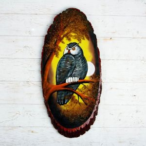 """Панно на спиле """"Осень.Сова"""", 63-68 см, каменная крошка, вертикальное 4022895"""