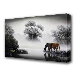 """Картина на холсте """"Кони на водопое"""""""