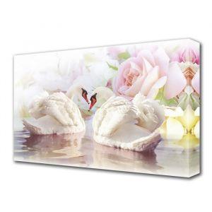 """Картина на холсте """"Лебеди и розы"""""""