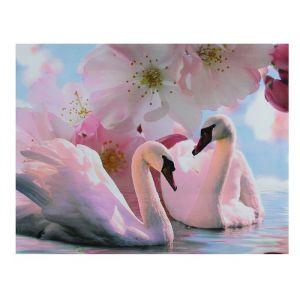 """Картина на подрамнике """"Лебеди под цветами"""""""