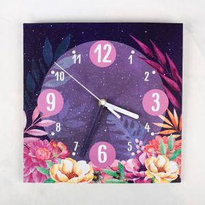 Часы настенные «Цветы», 26 ? 26 см, с декором 3868623
