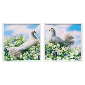 """Модульная картина в раме """"Белые голуби"""", 33?66 см"""