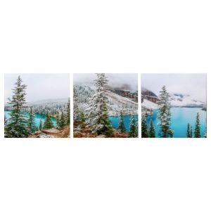 "Модульная картина ""Горное озеро"" (3-35х35) 35х105 см 4983594"