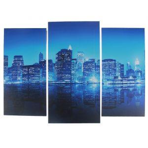 """Модульная картина """"Город в неоне""""  (2-25х52; 1-30х60) 60х80 см   3981598"""