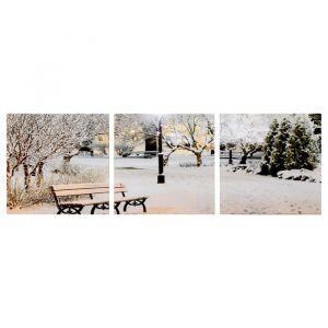 """Модульная картина """"Зимний парк"""" (3-35х35) 35х105 см 4983593"""