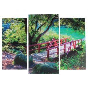 "Модульная картина ""Мостик в лесу""  (2-25х52; 1-30х60) 60х80 см   3981583"